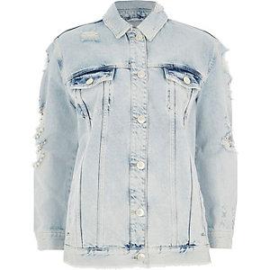 Mid blue distressed pearl denim jacket