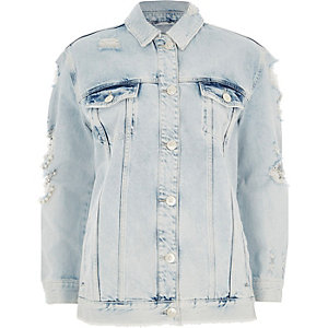 Mid blue distressed pearl denim jacket
