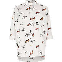 White dog print shirt