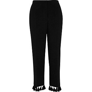 Black tassel hem cropped pants