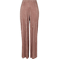 Light pink plisse wide leg pants