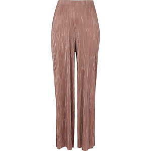 Light pink plisse wide leg trousers