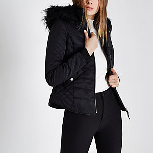 Black padded faux fur trim hood jacket