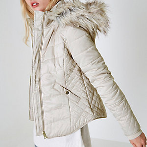 Cream quilted fur trim puffer jacket