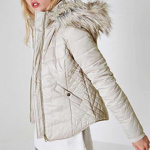 Cream quilted faux fur trim puffer jacket