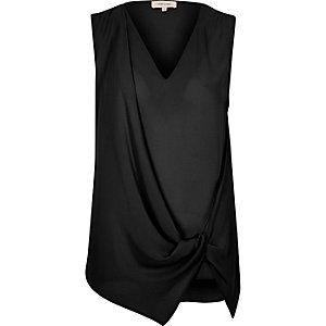Black knot front sleeveless blouse