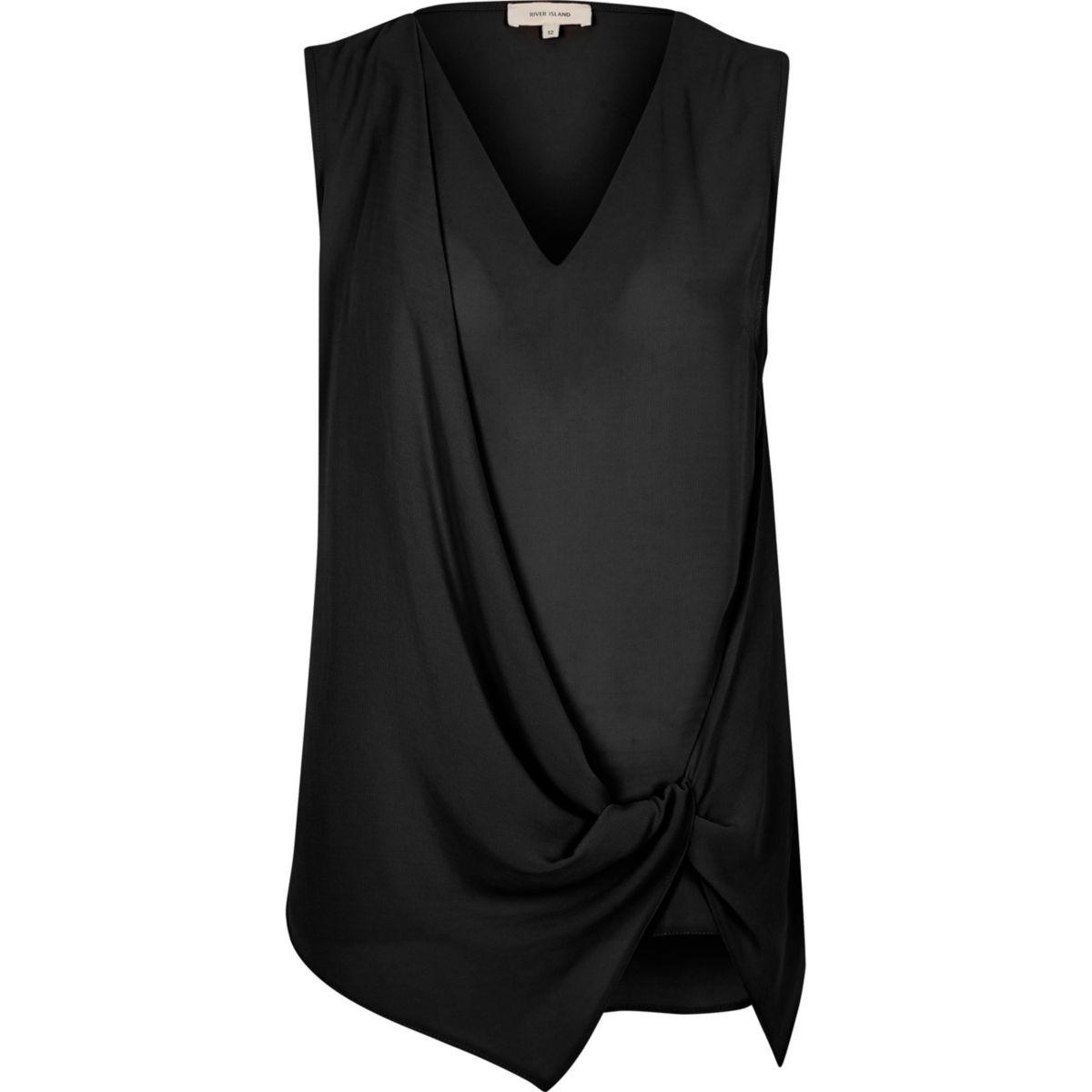 Zwarte mouwloze blouse met geknoopte voorkant