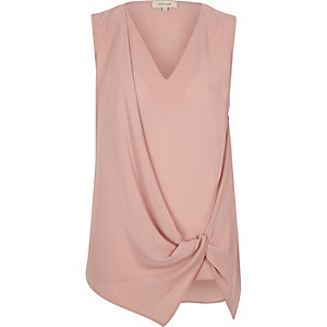 Light pink knot front sleeveless blouse