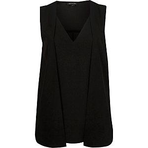 Black sleeveless 2 in 1 blouse
