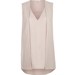Light grey sleeveless 2 in 1 blouse