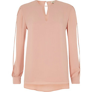 Light pink keyhole split sleeve blouse