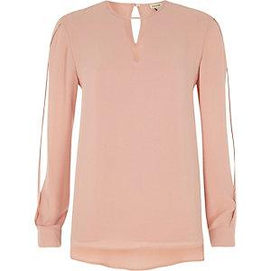 Light pink keyhole split sleeve blouse