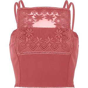 Dark pink lace panel bralet