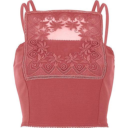 Dark pink lace panel bralet