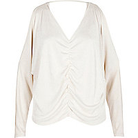 Cream knit ruched front batwing top