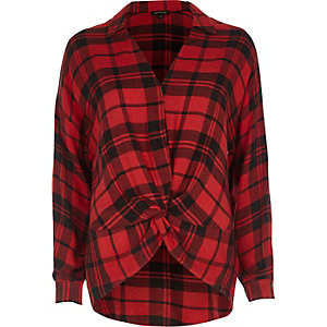 Red check knot front blouse