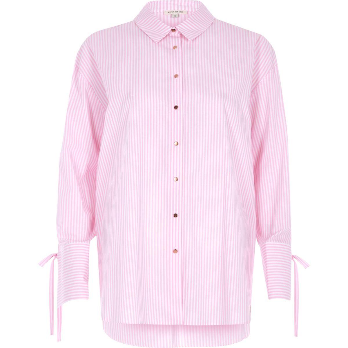 Pink stripe tie cuff oversized shirt