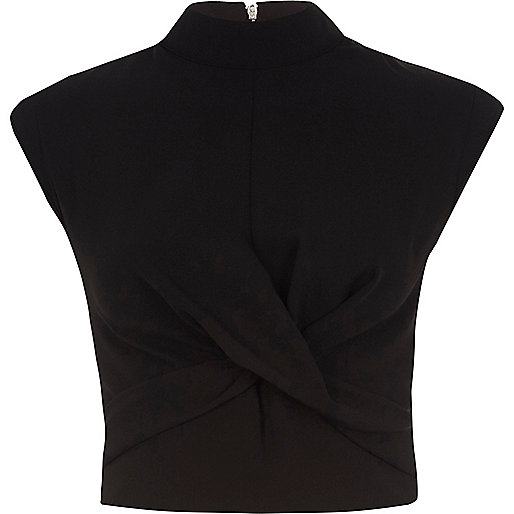 Black twist front high neck crop top
