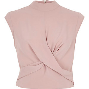 Light pink twist front high neck crop top