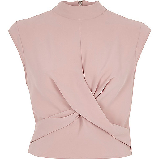 Light pink twist front high neck crop top