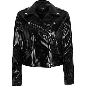Black vinyl biker jacket