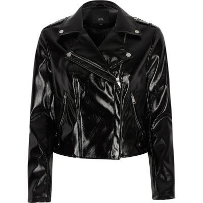 Manteau vinyl noir femme