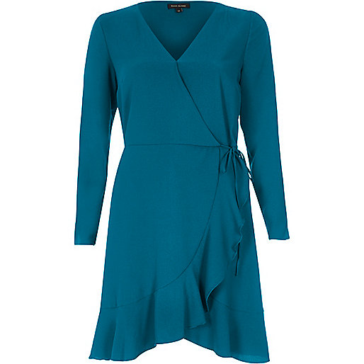 Teal blue ruffle hem long sleeve wrap dress