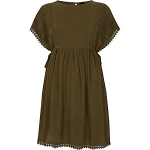 Khaki green crochet trim tie side dress