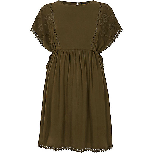 Khaki green crochet trim tie side dress