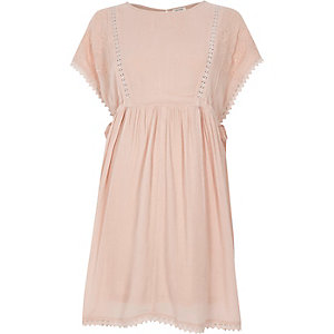 Light pink crochet trim tie side dress