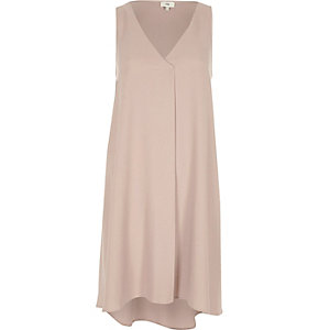 Light pink sleeveless pleat swing dress