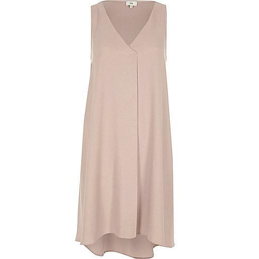 Light pink sleeveless pleat swing dress