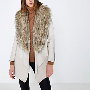 Cream faux fur trim fallaway coat