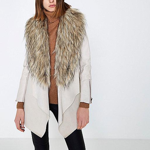 Cream faux fur trim fallaway coat