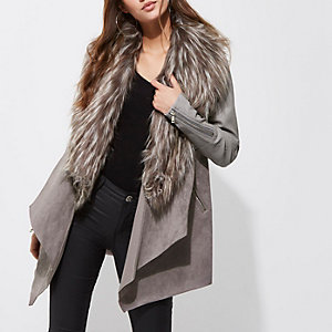 Grey faux fur trim fallaway coat