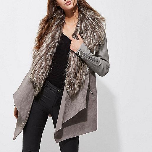 Grey faux fur trim fallaway coat