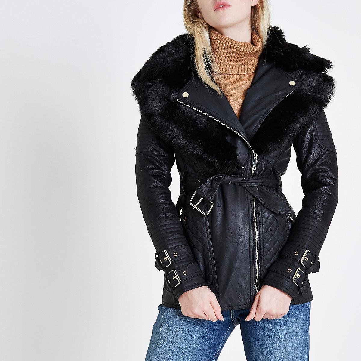 Black belted quilted biker collar coat