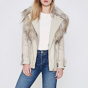 Cream belted faux fur collar biker jacket