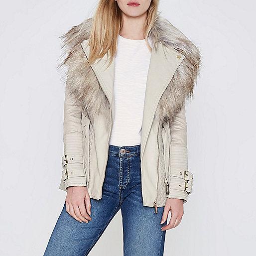 Cream belted faux fur collar biker jacket