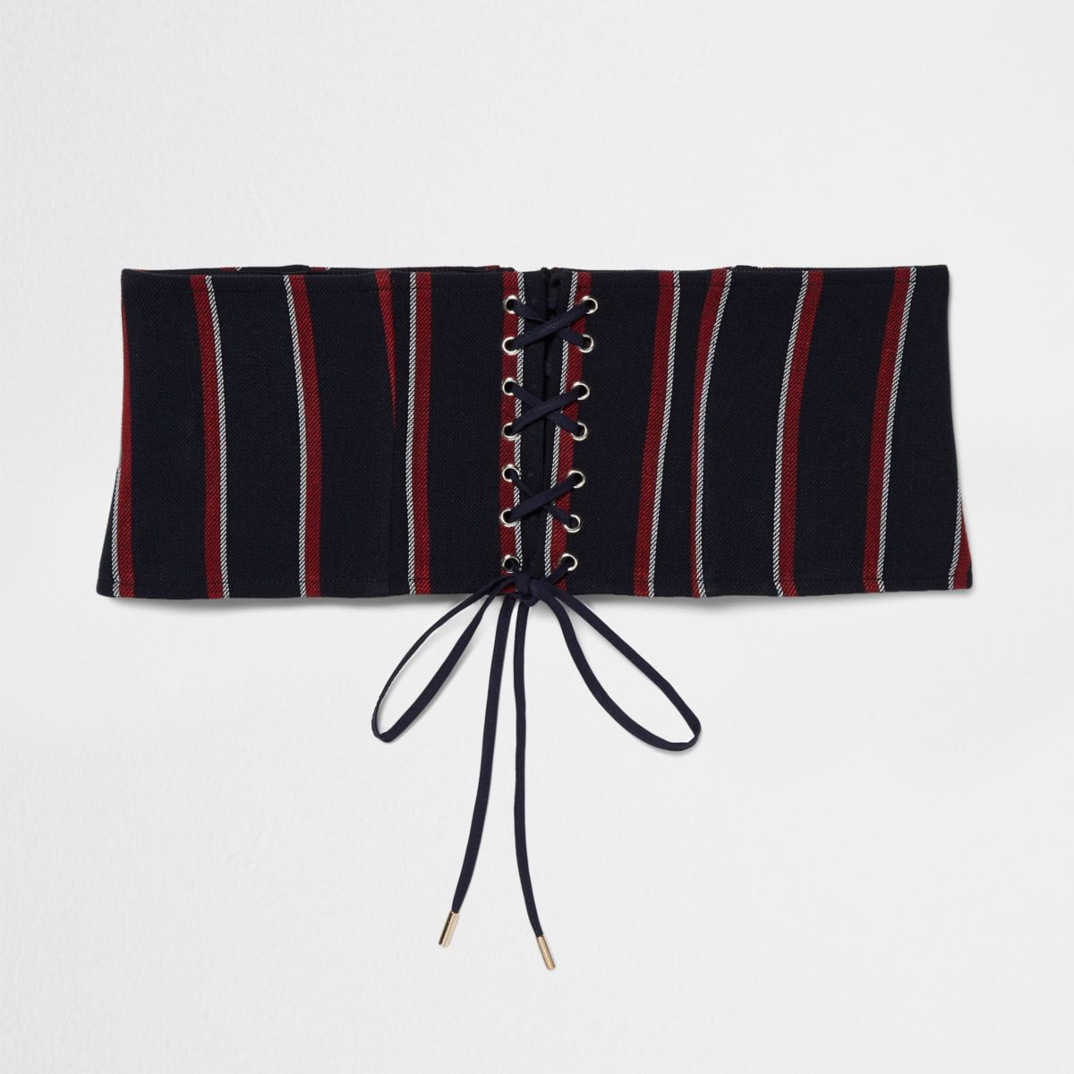 Blauw met rood gestreepte brede riem met corsetsluiting