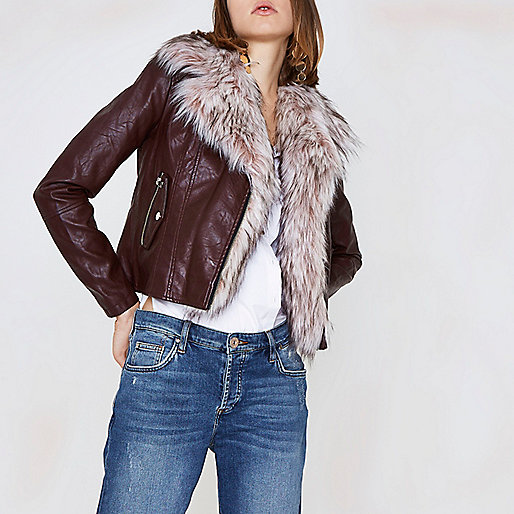 Burgundy faux fur trim biker jacket