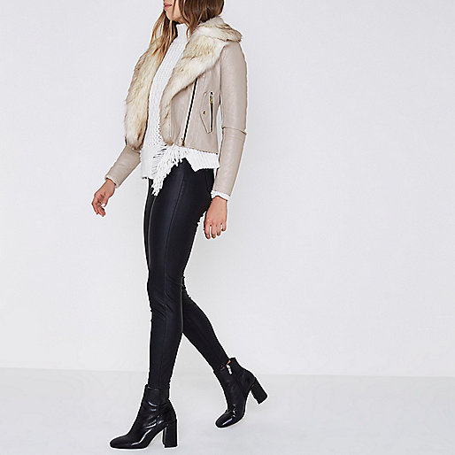 Stone fur trim biker jacket