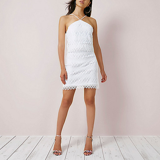 White lace cross neck mini swing dress