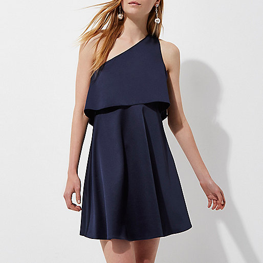 Navy satin one shoulder skater dress