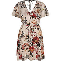 Cream floral print cape tea dress
