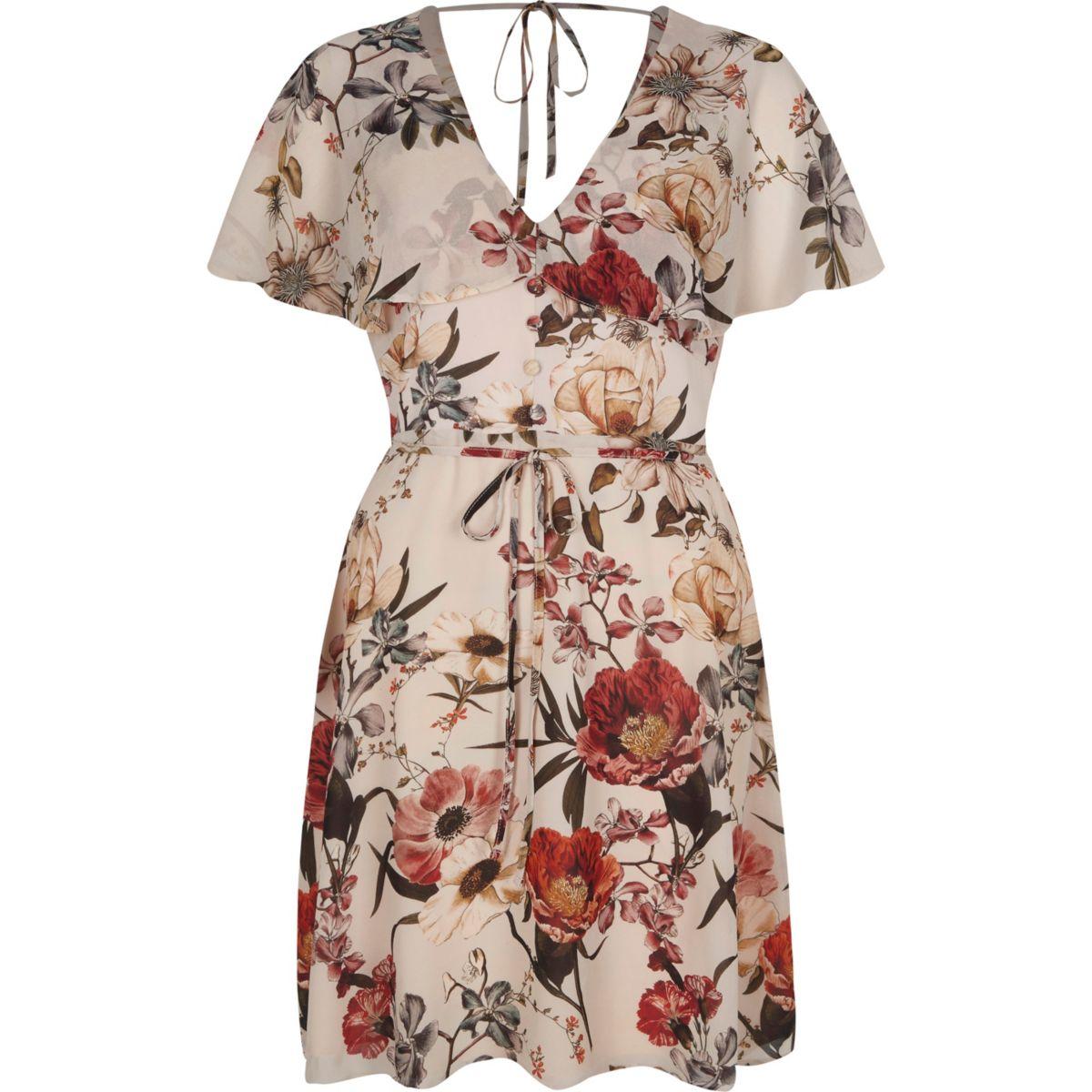 Cream floral print cape tea dress