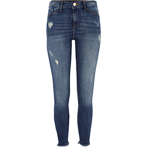 Dark blue frayed hem Molly jeggings
