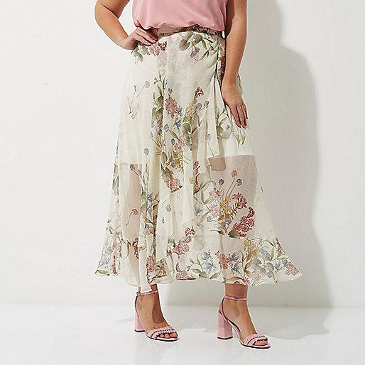 Plus cream floral frill hem wrap maxi skirt