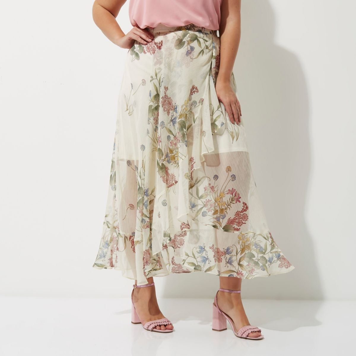 Plus cream floral frill hem wrap maxi skirt