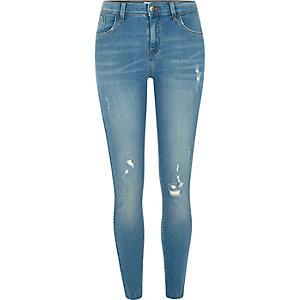 Amelie - Blauwe distressed superskinny jeans